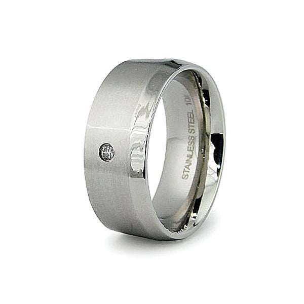 9mm Stainless Steel Men's Ring with CZ (Sizes 8-12)