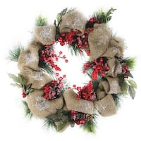 """18"""" Snow Dusted Country Rustic Artificial Christmas Wreath with Berries and Pine Cones - Unlit - brown"""