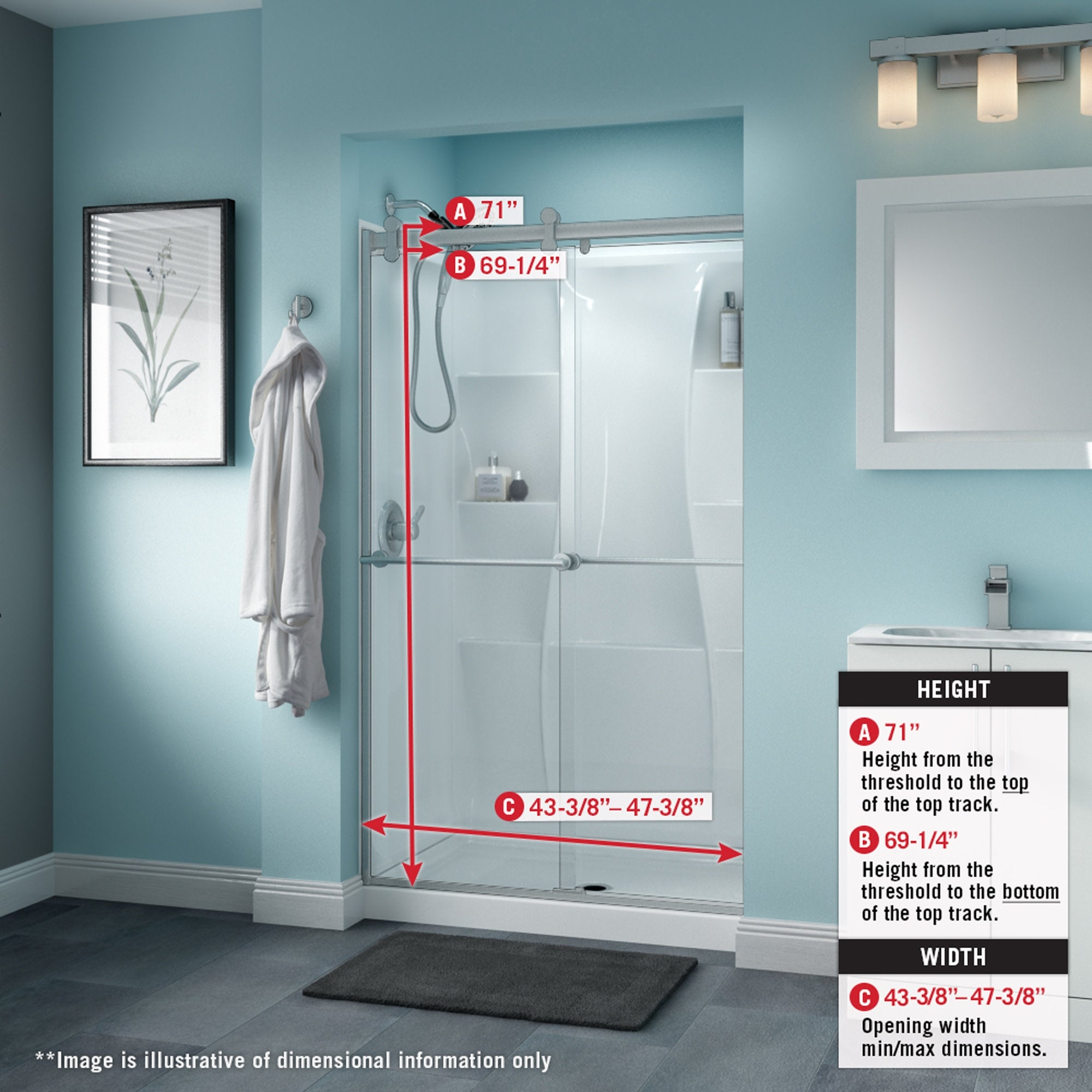 Delta Sd3276567 Trinsic 71 High X 47 3 8 Wide Sliding Frameless Shower Door With Clear Glass Nickel