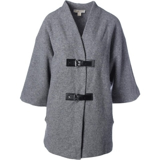 MICHAEL Michael Kors Womens Wool Buckle Sweatercoat