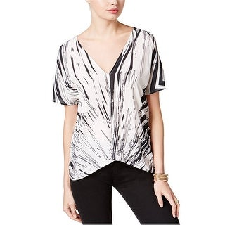 Bar III Printed V-Neck Top Blouse
