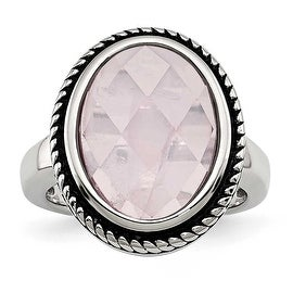 Chisel Stainless Steel Polished and Antiqued Rose Quartz Ring