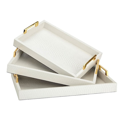 Set of 3 Ursula White Textured Leather Rectangular Trays 19""