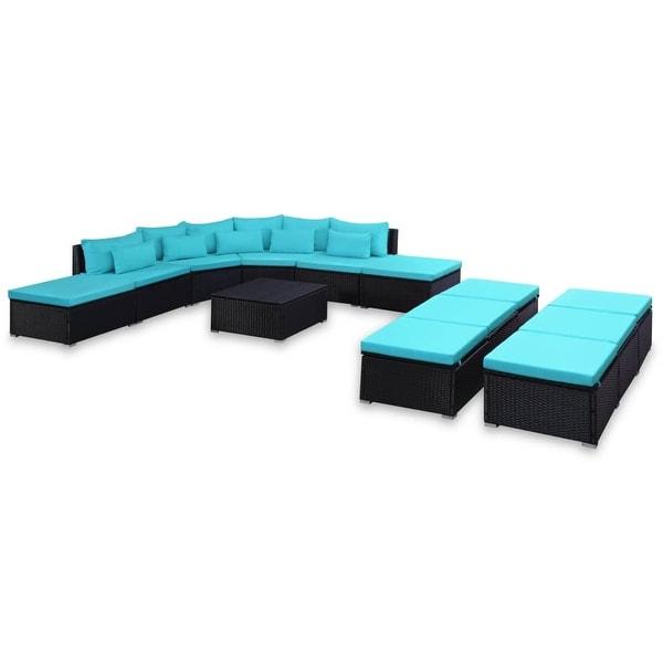 Shop Vidaxl 9 Piece Garden Lounge Set With Cushions Poly Rattan Blue