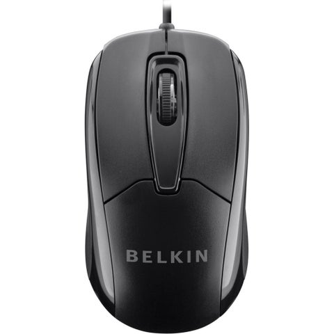 Belkin 3-Button Wired USB Optical Mouse with 5-Foot Cord - black - 4.3-inch x 2.4-inch x 1.5-inch
