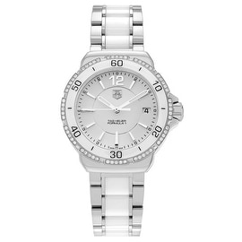 Tag Heuer Women's 'Formula 1' WAH1213.BA0861 Stainless Steel Ceramic 1/3 CT Diamond TDW Link Watch