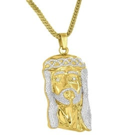 Jesus Face Designer Pendant 18K Gold Finish Simulated Diamonds 24 Inch Stainless Steel Franco Chain On Sale