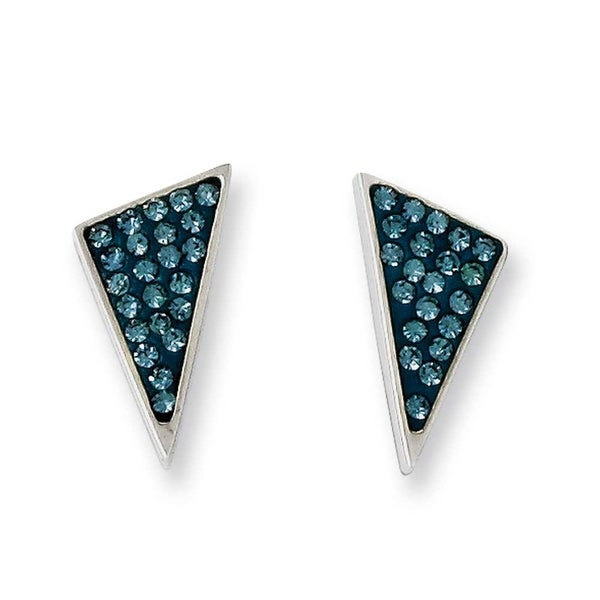 Chisel Stainless Steel Blue Crystal Triangles Post Earrings