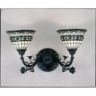 "Meyda Tiffany 27394 Tiffany Roman 2 Light 21"" Wide Bathroom Vanity Light with Tiffany Glass Shade"