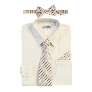 Gioberti Little Boys Ivory Shirt Necktie Bow Tie Pocket Square 4 Pc Set
