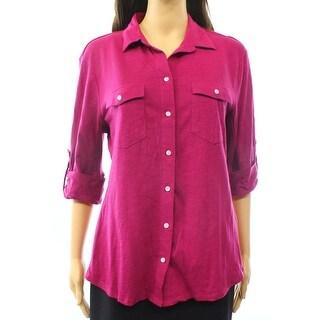 Sandra NEW Purple Women's Size Large L 2-Pocket Button Down Blouse
