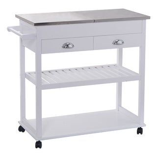 Costway White Rolling Kitchen Trolley Cart Stainless Steel-Flip Top W/Drawers &Casters