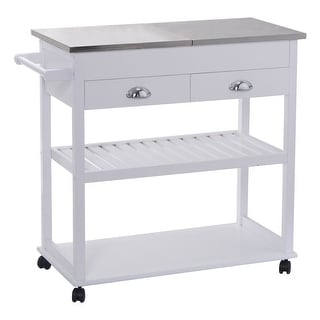Costway White Rolling Kitchen Trolley Cart Stainless Steel Flip Top  W/Drawers U0026Casters