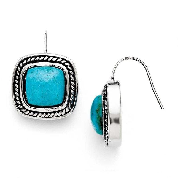 Chisel Stainless Steel Antiqued Imitation Turquoise Shepherd Hook Earrings