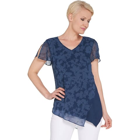 H by Halston Womens Plus Chiffon Overlay Top w/ Flutter Sleeve 2X Navy A308297