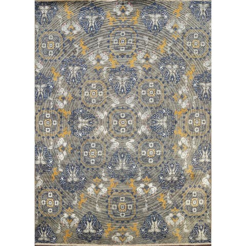 """Vegetable Dye Oriental Wool/ Silk Abstract Area Rug Hand-knotted - 8'0"""" x 10'6"""""""