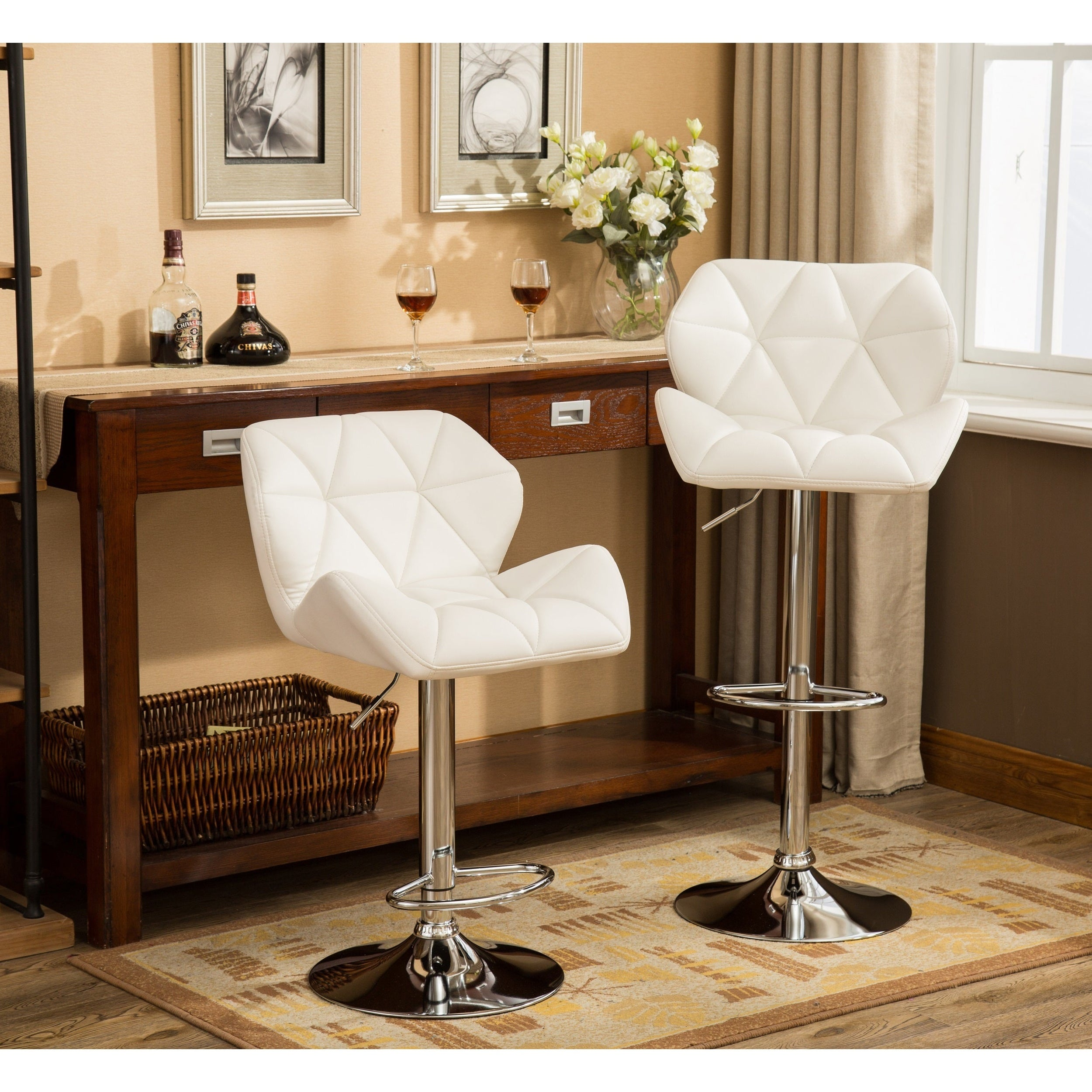 Glasgow Faux Leather Tufted Adjustable height Bar Stools Set of 9