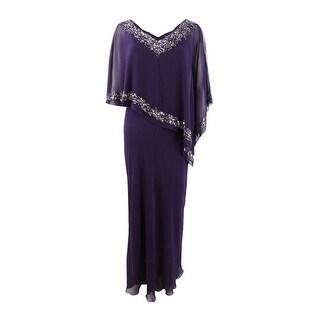 J Kara Women's Embellished Cold-Shoulder Cape Dress (8, Plummer) - Plummer - 8