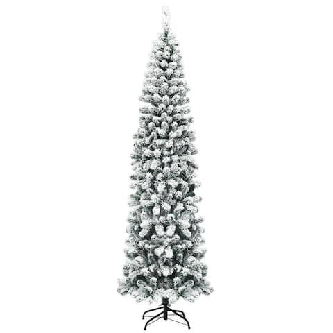 7.5 ft Unlit Hinged Snow Flocked Artificial Pencil Christmas Tree with 641 Tips - White