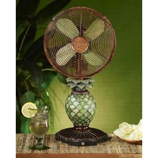 """23"""" Elegant Tropical Pineapple Night Light Lamp and Oscillating Table Top Fan"""
