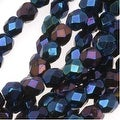 Czech Fire Polished Glass Beads 4mm Round Blue Iris (50) - Thumbnail 0