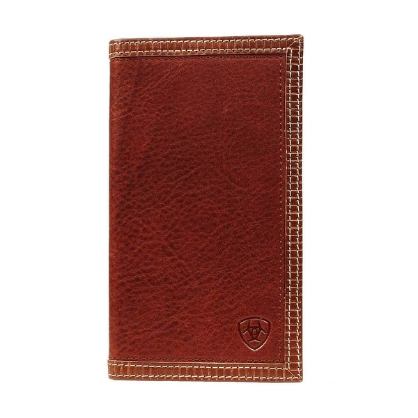 Ariat Western Wallet Mens Rodeo Checkbook Leather Logo Brand