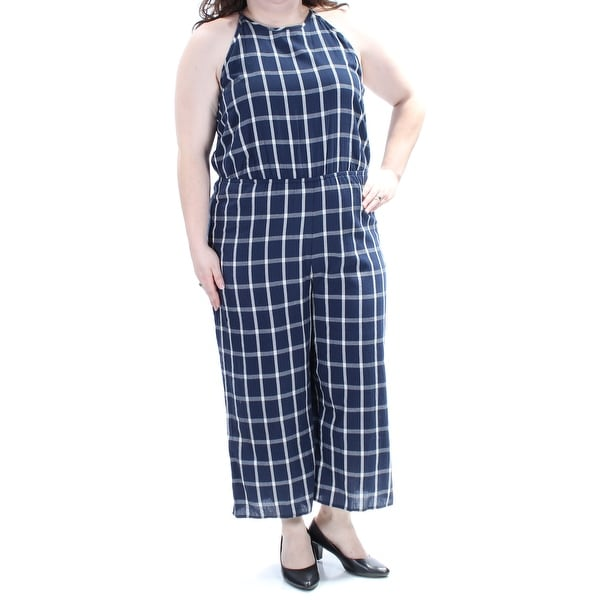9c2b4527a4f Shop MAISON JULES Womens Navy Check Sleeveless Halter Straight leg Jumpsuit  Size  XXL - On Sale - Free Shipping On Orders Over  45 - Overstock -  21392207