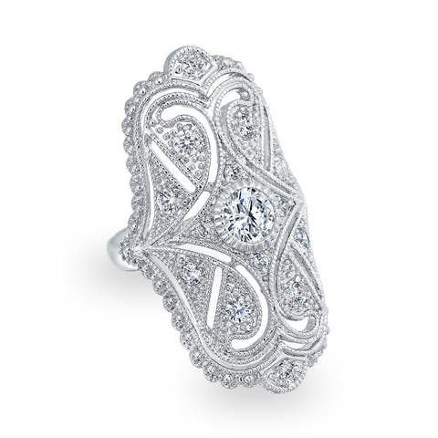 Art Deco Filigree CZ Fashion Statement Wide Armor Full Finger Ring