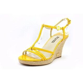 Michael Michael Kors Kami T Strap Open Toe Patent Leather Wedge Sandal