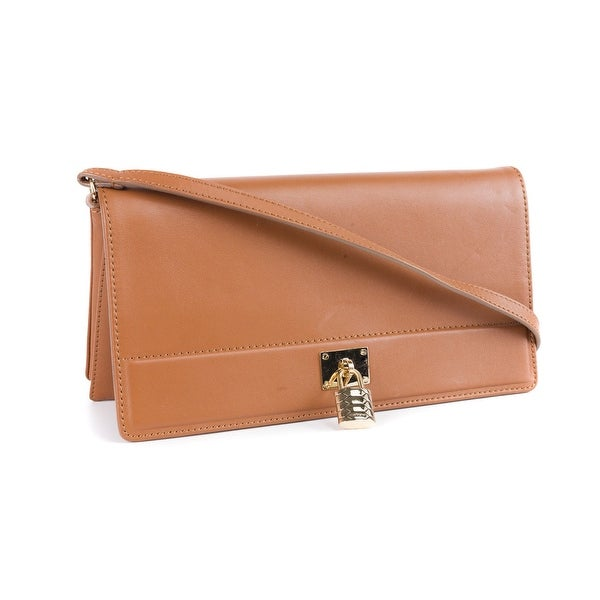 Roberto Cavalli Womens Brown Leather Classic Clutch w/Strap - L