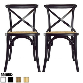 2xhome - Set of Two (2) - Antique Style Cross Back Wooden Frame Dining Chairs