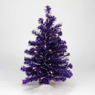 2' Pre-lit Purple Iridescent Pine Artificial Tinsel Christmas Tree - Clear Lights