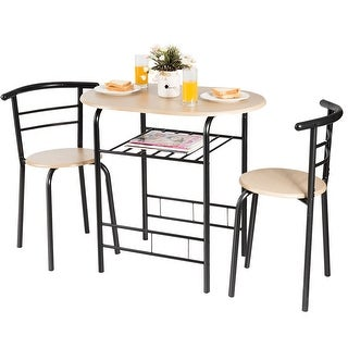Link to Costway 3 PCS Dining Set Table and 2 Chairs Home Kitchen Breakfast Similar Items in Dining Room & Bar Furniture