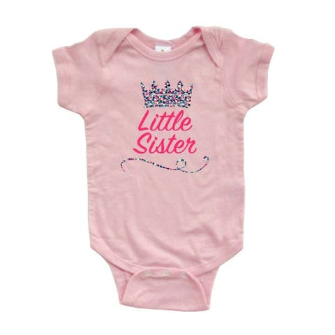 """Cute """"Little Sister"""" Print On Short Sleeve Bodysuit with Multicolored Tiara Crown"""