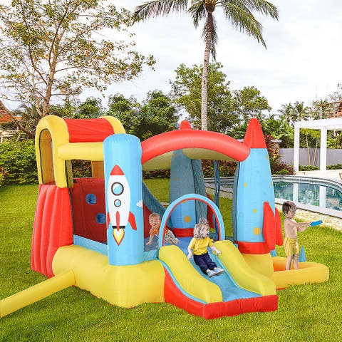 Outsunny 4-in-1 Kids Inflatable Bounce House Jumping Castle with 2 Slides, Climbing Wall, Trampoline, & Water Pool Area