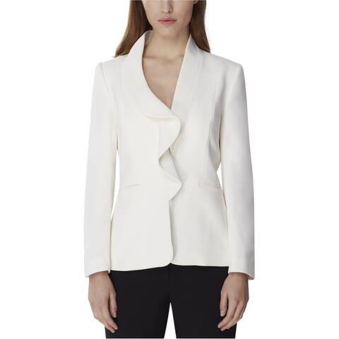 Tahari Womens Kiss-Front Blazer Jacket, White, 10