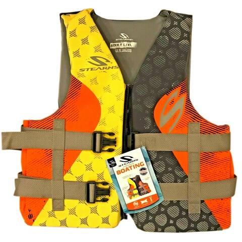 Stearns PFD 5412 Adult Hydroprene Personal Floatation Device, Orange/Yellow L/XL