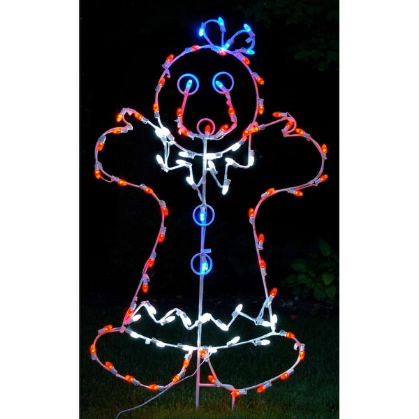 Christmas at Winterland WL-GM110-LED LED Light Mrs Gingerbread Woman - MultiColor - N/A