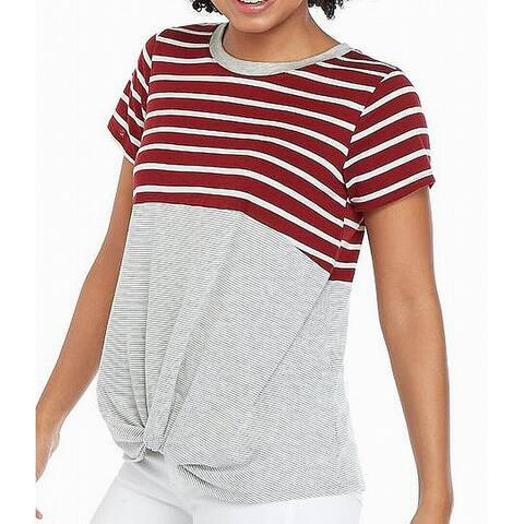 Eyeshadow Women's Top Gray Size Large L Striped Colorblock Twist-Front