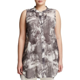 Eileen Fisher Womens Plus Button-Down Top Printed Sleeveless