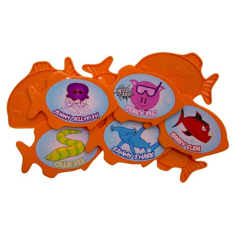 "5"" Orange and Blue 9 Character Go Fish Swimming Pool Dive Game"