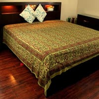 Cotton Floral Block Print Tapestry Wall Hanging Tablecloth Throw Thin Bedspread Coverlet Beach Sheet Olive Green Twin Full