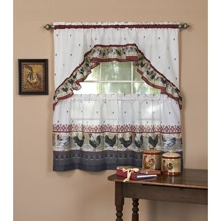 Rooster Printed Kitchen Curtain Tiers & Swag Set - 57x36 & 57x30 Inches