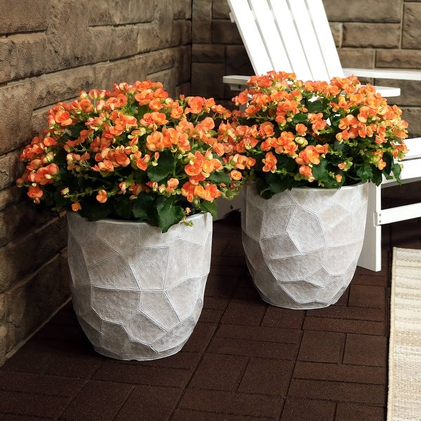 "Sunnydaze Fiber Clay Carved Planter Indoor/Outdoor Light Gray Set of 2 - 12-Inch - 12"" Set of 2"