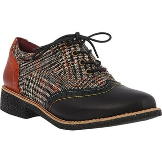L'Artiste by Spring Step Women's Muggiasti Wingtip Oxford Black Multi Leather/Textile
