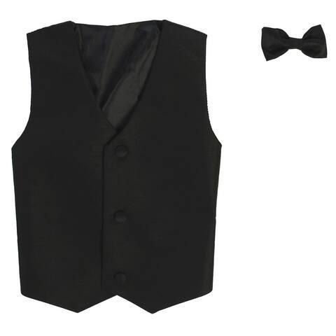Baby Boys Black Poly Silk Vest Bowtie Special Occasion Set 3-24M