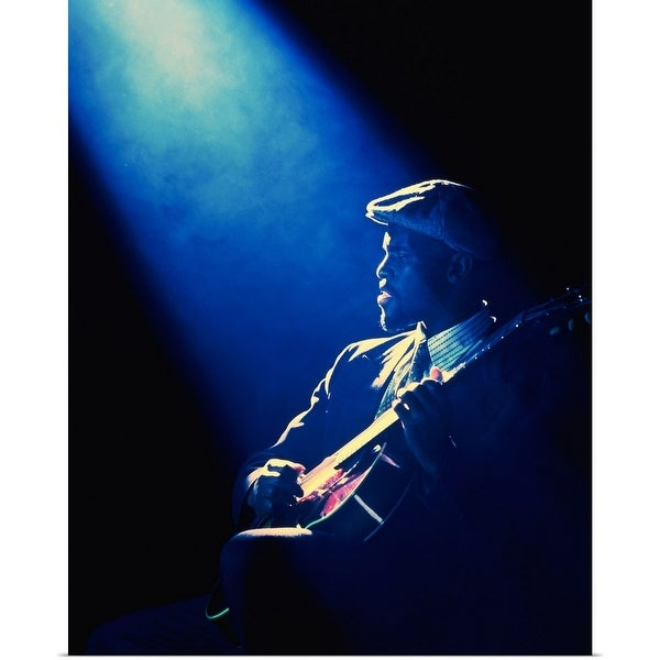 """""""Guitar player performing in club with spotlight"""" Poster Print"""