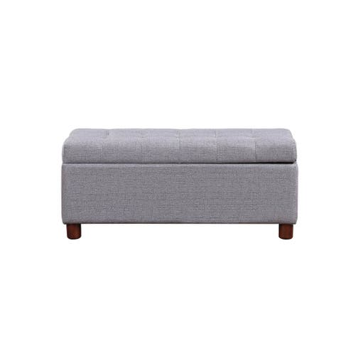"39"" Storage Bench Tufted Linen Fabric Ottoman Storage Bench"