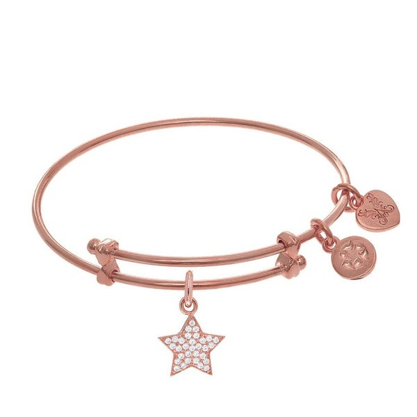 Brass Pink Finish Star with Heart Charm On Pink Angelica Collection Tween Bangle