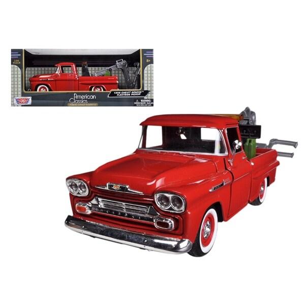 1958 Chevrolet Apache Fleetside Pickup Tow Truck Red 1/24 Diecast Model Car by Motormax
